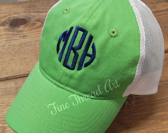 KIDS Monogram Trucker Style Baseball Cap Hat for Girls Boys Youth Size Name Initials White Mesh
