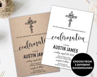 Confirmation Invitation | Shabby Chic First Communion Invitation | First Holy Communion | Boho Chic Confirmation invite | With Joyful Hearts