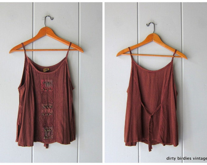 90s India Tank Top Brown Rayon Shirt Sleeveless Minimal BOHO Hippie India Embroidered Bells Top Vintage Womens Medium Small