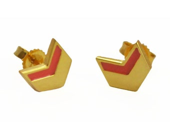 Mini Coral Chevron Earrings in Gold Vermeil // Geometric, Modern, Coral and Gold Studs // Choose Your Accent Color