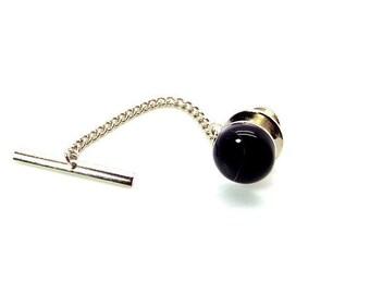 Onyx Tie Tac, Black Onyx Tie Tac, Black Tie Tac with Chain