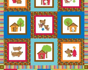 SALE Puppy Love Panel Aqua - Riley Blake Designs - Blue Dogs Pets - Quilting Cotton Fabric