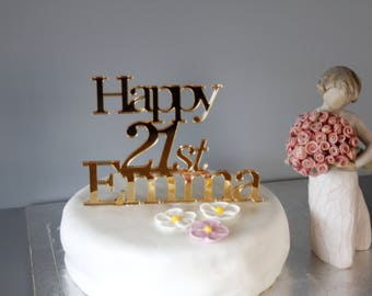 Personalised Silver/Gold acrylic Birthday Celebration cake topper