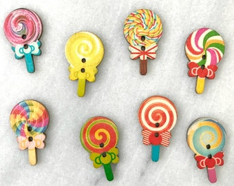 Wooden Lollipop Buttons - Set of 8