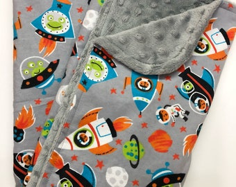 Space Explorers Baby Blanket Gender Neutral Minky Blanket Nursery Bedding Shower Gift Stroller Blanket Space Ships Rockets Grey Minky