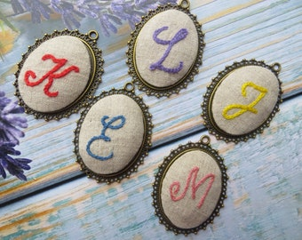 8th anniversary gift for her Bronze anniversary gift for wife Monogram Embroidered wedding gift Hand Embroidery initial necklace for woman