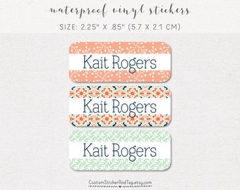 waterproof name labels, set of 30, baby bottle labels, daycare lables, girl stickers, floral pattern, arrows, mint, coral and navy (NS-13)