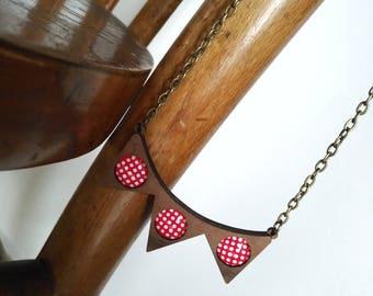 Collana di legno, wooden necklace , rockabilly necklace, banner neckace, San Valentine gift