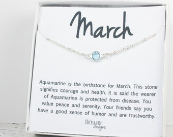 March Birthstone Necklace, March Silver Necklace, Aquamarine Silver Necklace, March Birthstone Jewelry, Gifts Under 20