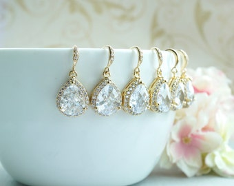 Gold Wedding Bridal Earrings LARGE Teardrop White Cubic Zirconia Dangle Earrings Bridesmaid Earrings Bridesmaid Gift Vintage Style wedding