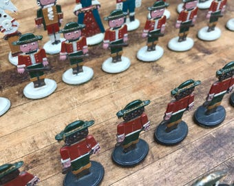 Vintage Antique Hand Painted German Military Full Chess Set Pieces