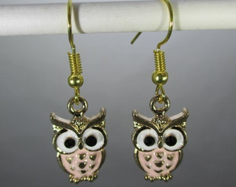 Owl with pink belly and gold tones Dangle Earrings