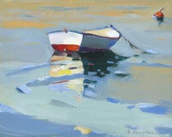"Beach Decor, ""Boat""  by B. Kravchenko, Art Print / Original Oil Painting / Framed / Buoy"