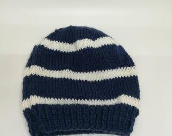 Loose Navy 12 months Beanie / / wool baby Hat