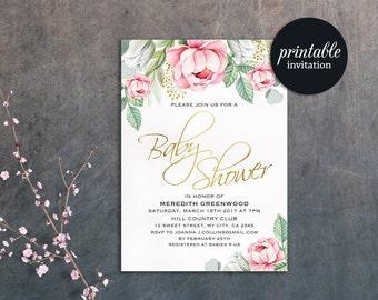 Floral Baby Shower Invitation Girl Baby Shower Invitation Printable Baby Shower Invitation Pink Boho Baby Shower Invite Gold green Spring