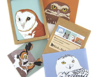 Box of Owl Note Cards | 2 Each of 4 Designs | Printed on Recycled Paper | blank bird greeting raptor nature wildlife outdoors birder