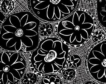 Hello Dahlia Black White Flower Fabric - P & B Textiles