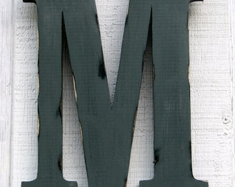"""Rustic Wooden Letter M Distressed Painted Pewter Grey,18"""" tall Wood Name Letters, Custom Gift You Pick Color"""