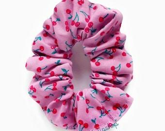 Hair Scrunchie Retro Cherry Scrunchies Hair Accessories Ponytail Holder Kawaii Light Purple Pink Retro 80s 90s Cherries Japanese Fabric