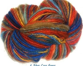 Primary's Palette - 318 yards Handspun Merino - Single Ply - 2 skeins Art Yarn