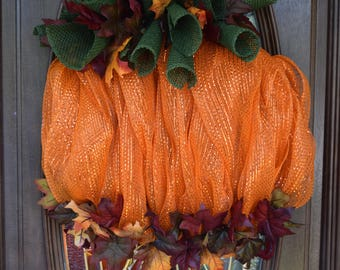 Orange Pumpkin fall wreath