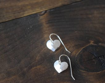 hammered heart earrings
