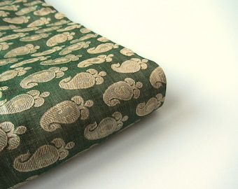 Green gold paisley benares silk brocade from Varanasi India fabric nr 493 fat quarter
