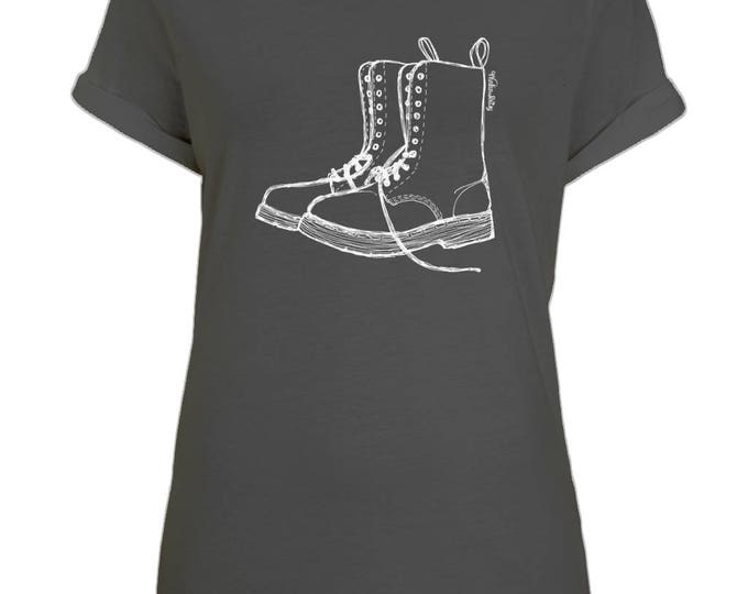 Doc Martens Boots Original Line Drawing Womens Boyfriend Style Organic Cotton T-Shirt With Rolled Up Sleeves. Black.