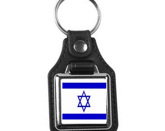 leather and silver plated metal keyring, square design ,israel,  professional new keychain key ring