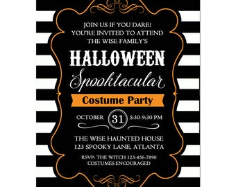 Halloween Invitation Printable or Printed with FREE SHIPPING- ANY Wording - Halloween Black and White Collection