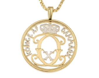 """Denmark Pendant and Necklace Jewelry, Denmark Five Ore coin Hand cut, 14 Karat Gold and Rhodium Plated, 1"""" in Diameter, ( # 81 )"""