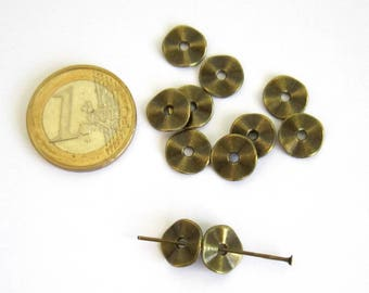 10 beads spacer wavy disc bronze 10 mm, spacer beads, Bohemian, ethnic, hammered disc beads, bronze, set of 10