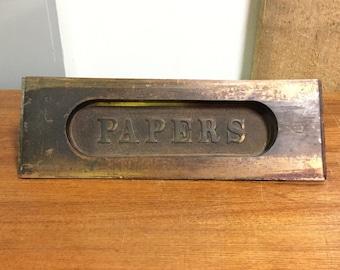 """Brass """"Papers"""" Door Slot"""