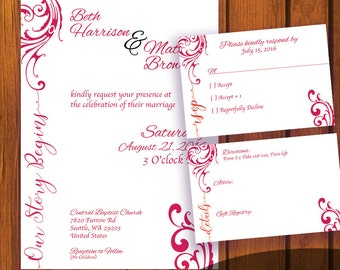 Traditional Wedding Invitation / Red and White Wedding Suite / Red and White / Inviation Suite / Traditional / Wedding / Anniversary