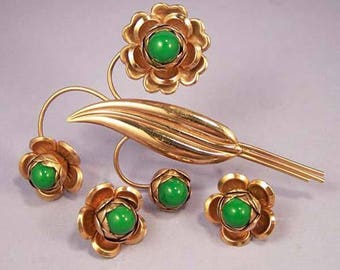 RETRO Vintage Green Floral Copper Brooch Set / Retro Brooch and Earrings Set / Mid Century Copper Earrings Set / Green Glass Copper Jewelry