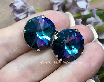 18mm Rivoli, Genuine Swarovski Crystal, Blue Lagoon 1122 UNF, With Silver or Gold Plated Setting, Crystal Sew On, Bermuda Blue Heliotrope