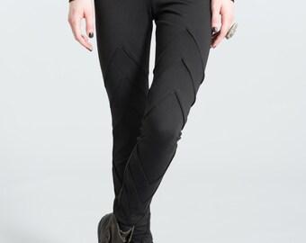 Designer Long Leggings / Women''s Tights / Fashion Pants / Black Jeggings / Trendy Pants / Marcellamoda - MP0132