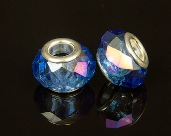 2 beads European style o14 glass faceted blue electroplate