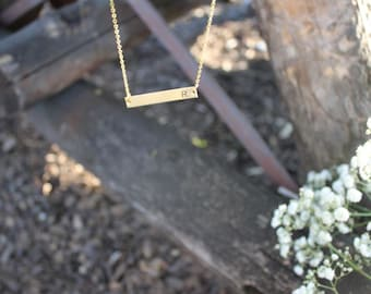 Gold Bar Necklace / Bridesmaid Gift Idea / Custom Hand Stamped Initial / For her / Initial Necklace / Engraved /Monogram / Best Friend / Mom