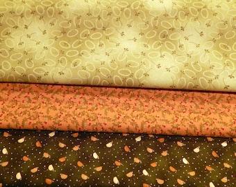 NEW Chicks on the Run Quilt 100% Cotton Coordinating Fabric- Three Cuts Greens & Salmon