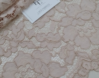 Pink lace fabric, French lace, Chantilly lace, Wedding lace, Bridal lace, Evening dress lace, Lingerie lace, fabric by the yard LL57991