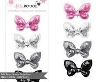 Pink Paislee Sequin Butterflies