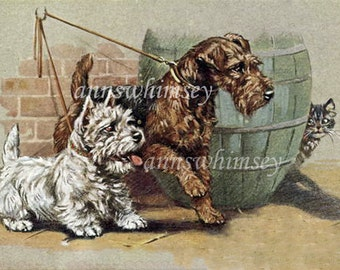 """Art Print Dogs Out For A Walk ~ In For a Scare"""" Gift For Cat or Dog Lover  #186"""