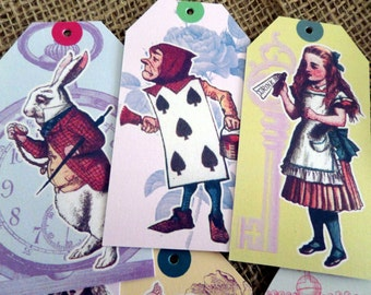 6 Alice in Wonderland Themed Vintage Style Gift Tags