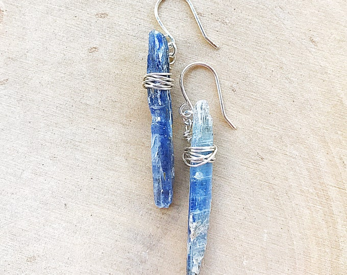 Blue Kyanite Earrings, Silver Healing Stone Jewelry, Natural Crystal, Raw Gemstone, Bridesmaids Gifts, Chakra Balancing, Handmade, Bohemian