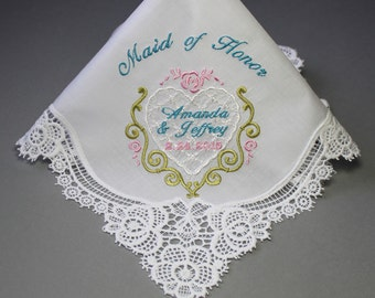 Maid of Honor Wedding Handkerchief Embroidery Personalized