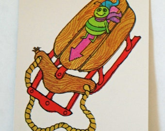 Vintage Flash Card SLED Green Bug Nursery Art Decor Paper Ephemera Bright Colors 1977 Milton Bradley