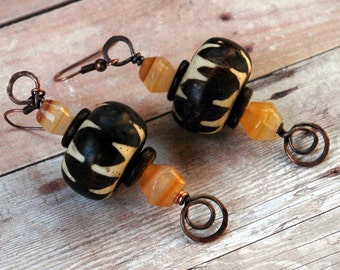 Batik Bead Earrings, African Trade Beads Accented with Honey Gold Natural Agate Gemstones, Dark Brown Coconut Shell and Hammered Copper Wire