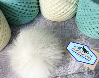 Real racoon fur pompon | Pompon to fix on hat | for knitter et crocheter | DIY Pompon | White pompon | with cord | diy pompon