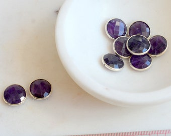 Amethyst Beads Faceted Amethyst Sterling Silver Bezel Set Coin Beads Round Cut Amethyst Gemstone Beads Amethyst Earrings,Pairs,SARS170112K